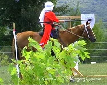Lucy, all around TB mare for sale, jousting at the quintain